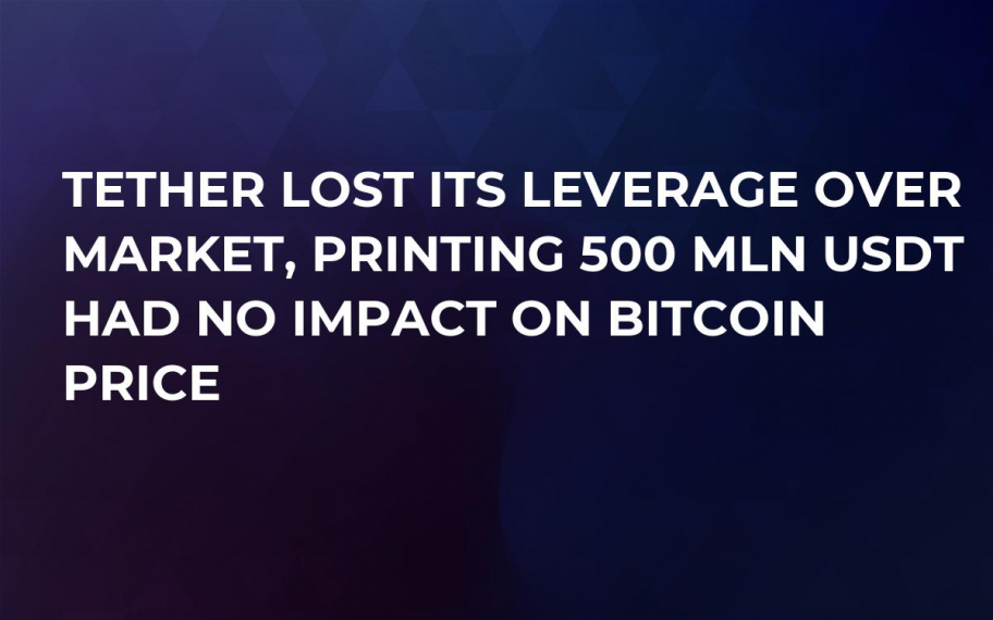 Tether Lost Its Leverage Over Market, Printing 500 Mln USDT Had No Impact on Bitcoin Price