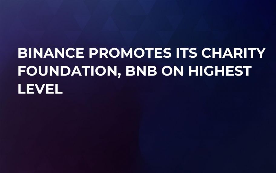 Binance Promotes Its Charity Foundation, BNB on Highest Level
