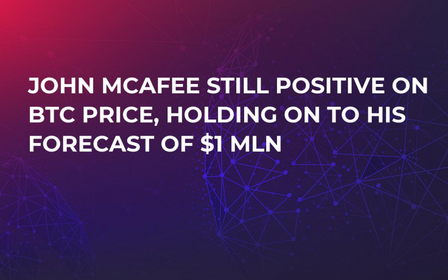 John McAfee Still Positive on BTC Price, Holding On to His Forecast of $1 Mln
