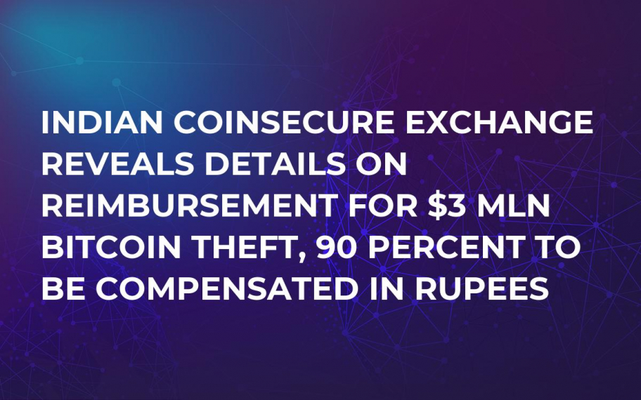 Indian Coinsecure Exchange Reveals Details on Reimbursement For $3 Mln Bitcoin Theft, 90 Percent to Be Compensated in Rupees